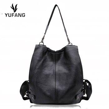 YUFANG Girls Backpack Genuine Leather With Oxford Women Backpack Preppy Student School Bag Black Color Shoulder Bag Teenager