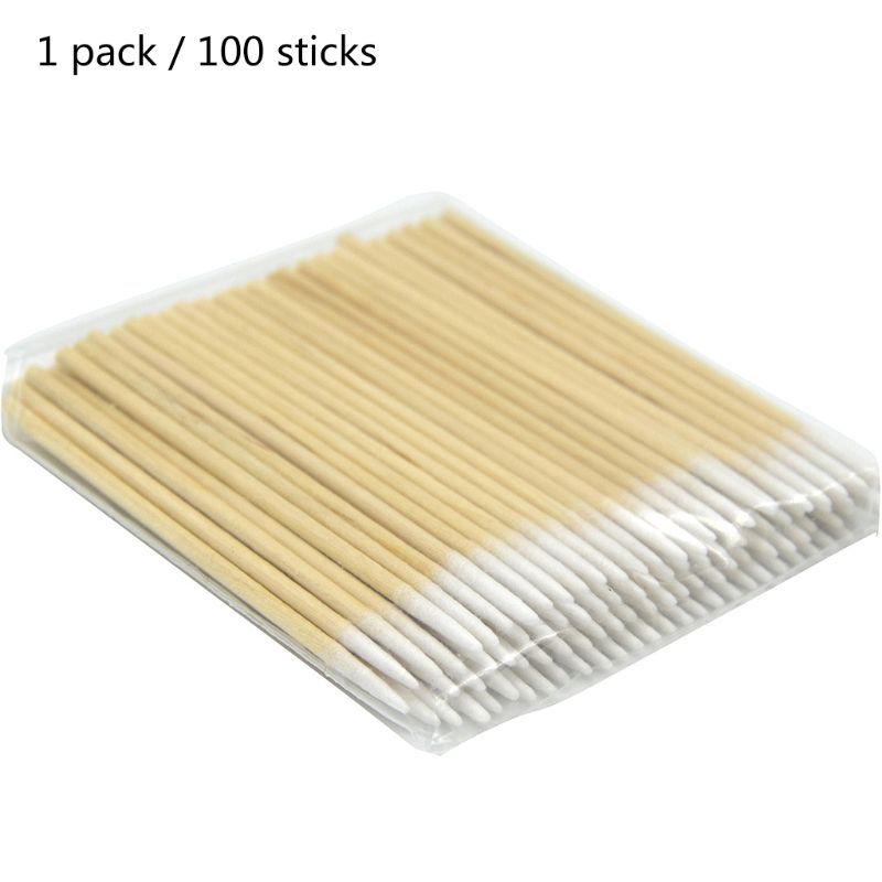 100pcs Disposable Ultra Small Swab Cotton Buds Wooden Brushes Eyelash Extension Q0KD