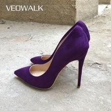 Veowalk głęboki fiolet kobiety stado szpiczasty nosek wysokie obcasy moda damskie wsuwane buty czółenka na szpilkach Sexy kobieta wesele buty