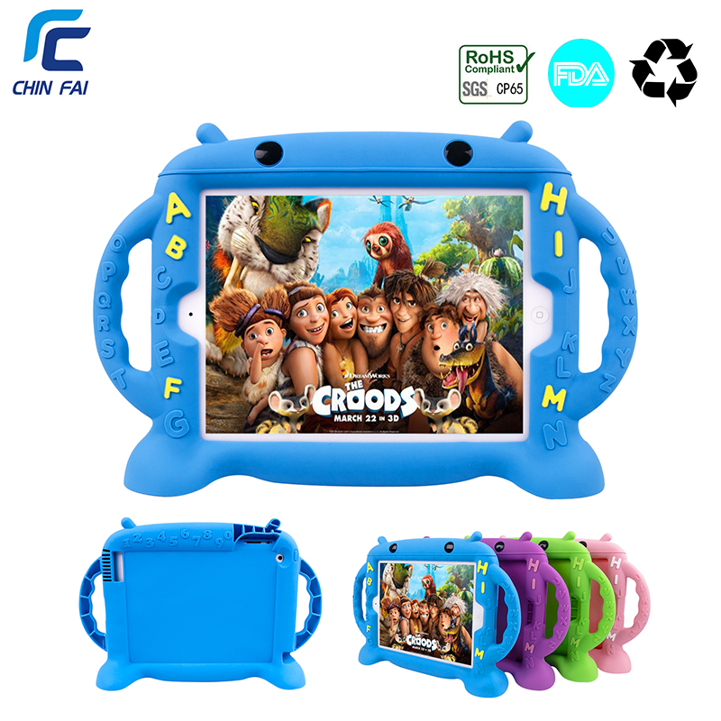 CHINFAI Child Silicone Case For IPad 4 Shockproof Case For IPad 2 Cartoon Safe Washable Case For IPad 2 3 4 9.7'' With Car Strap