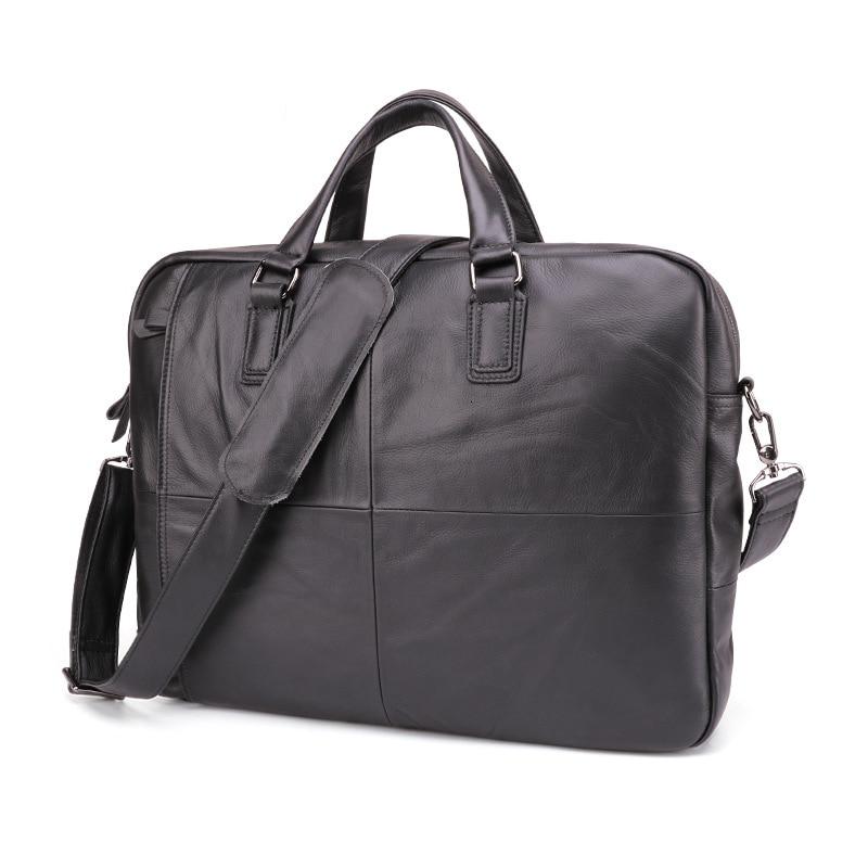 Men's Briefcase Genuine Leather Business Handbag Laptop Casual Large Shoulder Bag Vintage Messenger Bags Luxury Bolsas 17 Inch
