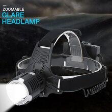 Linterna frontal LED XHP  P71 recargable por USB, superbrillante, con ZOOM, para pesca