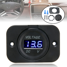 цена на DC 12V-24V Blue LED Display Digital Voltmeter Panel Electric Voltage Meter Volt Tester For Car Motorcycle Voltage Meter