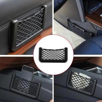 Universal car back seat Storage Net Bag String Bag Mesh Pocket Organizer Stick-on for wallet phone Net Bag Cargo Storage holder image