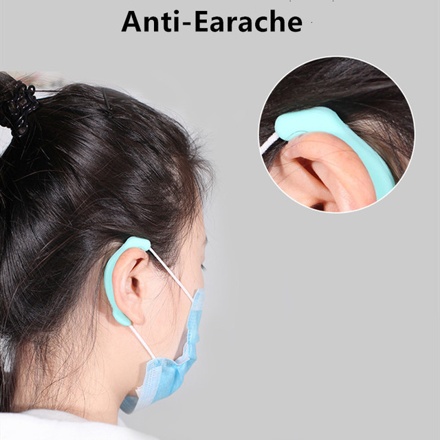 1Pair Soft Silicone Gel Ear Protector for Fack Mask Protection Ear Cuffs Reusable Ear Hook Protection For KN95 N95 Dust Masks 1