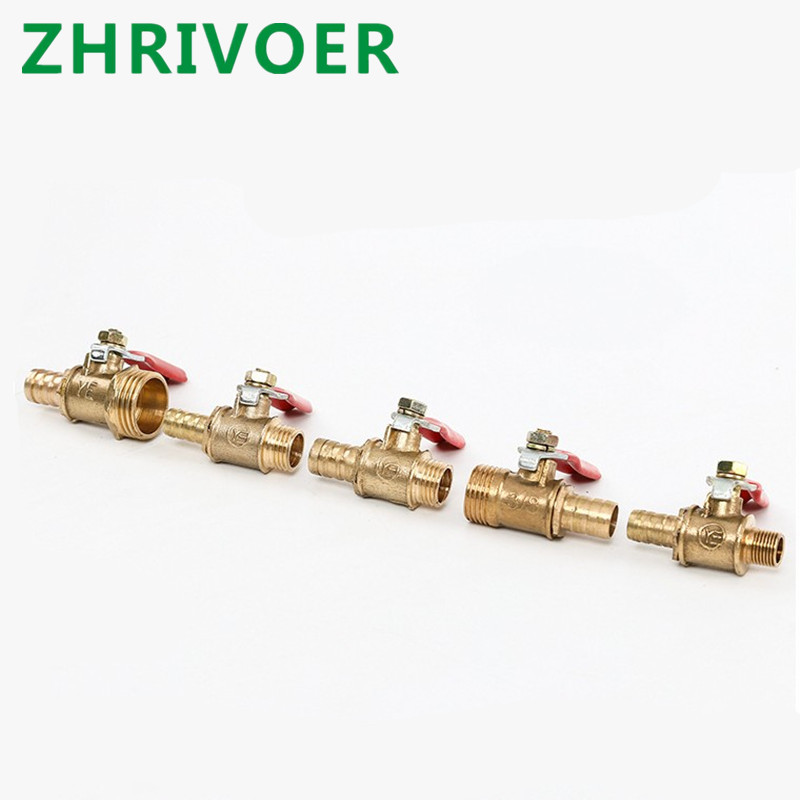 Brass Barbed Ball Valve 1/8'' 1/2'' 1/4'' Male Thread Connector Joint Copper Pipe Fitting Coupler Adapter 4-12 Hose Barb