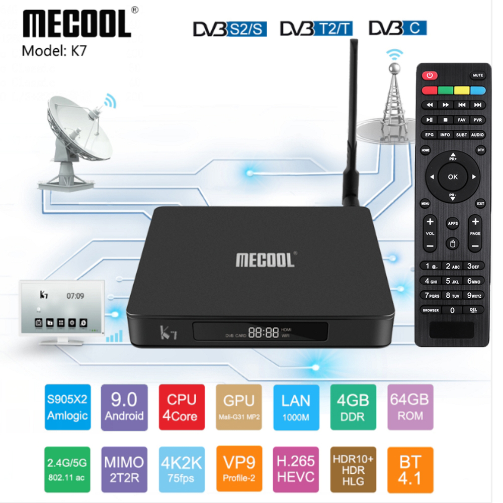 MECOOL K7 DVB - S2 - T2 TC Android 9.0 TV Box 4GB LPDDR4 64GB Amlogic S905X2 2.4GHz+5GHz WiFi 1000Mbps Bluetooth 4.1 HDR10 4K