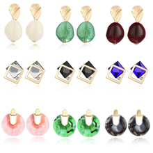 Women Earrings Simple And Compact Korean Cute Girl Geometric Round Acrylic Personalized Jewelry Brincos