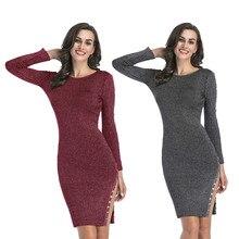 2019 Black Knit Dress Autumn and Winter New Dress Hem Split Fork Button Knit Bag Hip Sweater Dress for Women chevron hem ringer texture knit sweater