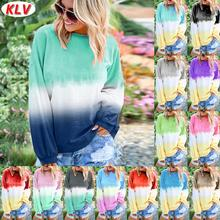 KLV Winter Spring Women Sweatshirts Long Sleeve Casual O-Neck Gradient Contrast Color Tops Plus Size Pullover sudadera mujeS-5XL
