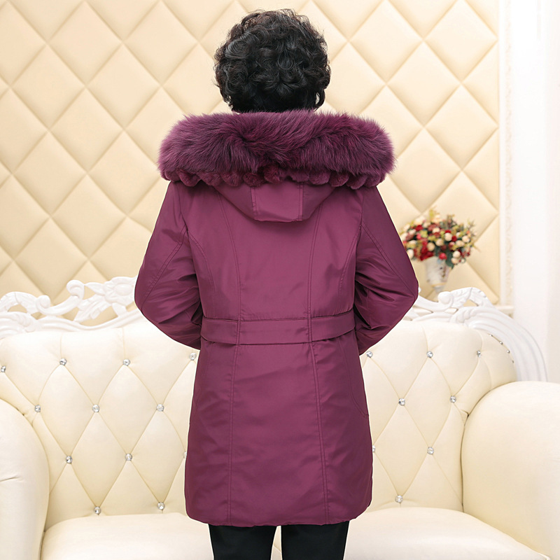 Plus Size 5XL Duck Down Jacket Women Long Warm Middle-aged Down Coat Fox Fur Collar Mother Parkas Abrigos Mujer LX2247