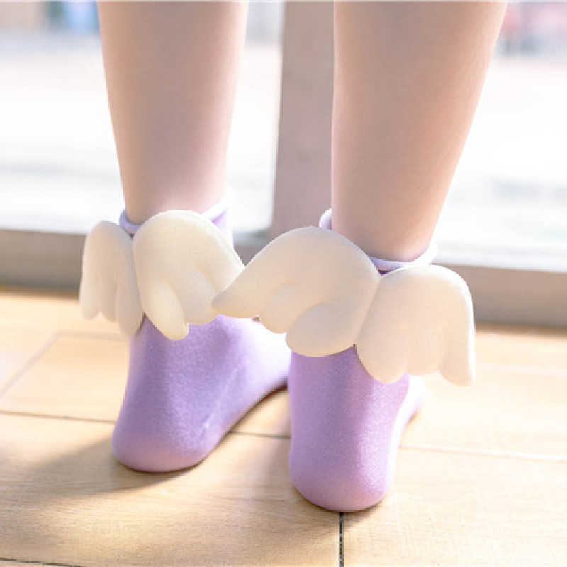 Japanese Korean Creative Trend Wing Socks Candy-colored Curled Female Socks Cotton Tube Socks Heel Wings