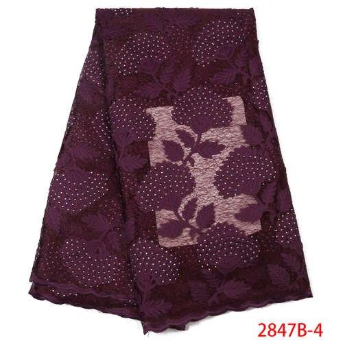 Африканская кружевная ткань высокого качества кружева новая швейцарская вуаль кружева швейцарская добавить камни нигерийские кружева вуаль ткань YA2847B-3 - Цвет: Picture4