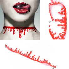 Halloween Decoration Horror Blood Drip Necklace Fake Blood Vampire Fancy Joker Choker Costume Necklaces Party Accessories blood pact