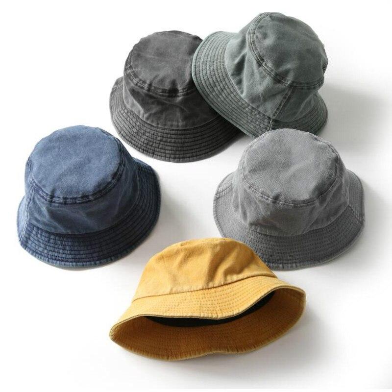 Fashion Denim Bucket Hat Cotton Washed Fishing Hunting Cap Outdoor Beach Fisherman Panama Women's Bucket Hat