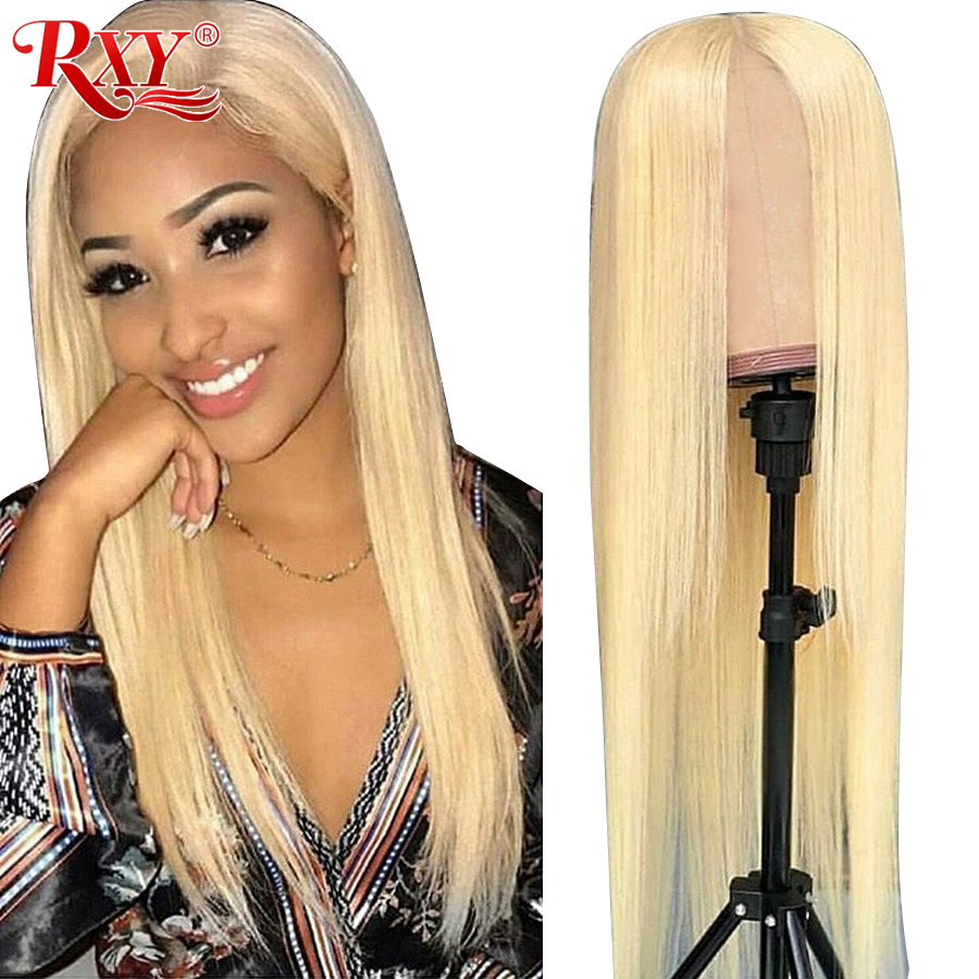 613 Lace Front Wig Honey Blonde Lace Front Human Hair Wigs Peruvian Straight 13x4 613 Frontal Wig Remy 150% Density Blonde Hair image