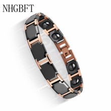 NHGBFT Rose Gold Color Stainless Steel Health Care Energy Magnetic Bracelets For Men Women Black Ceramic Bracelet
