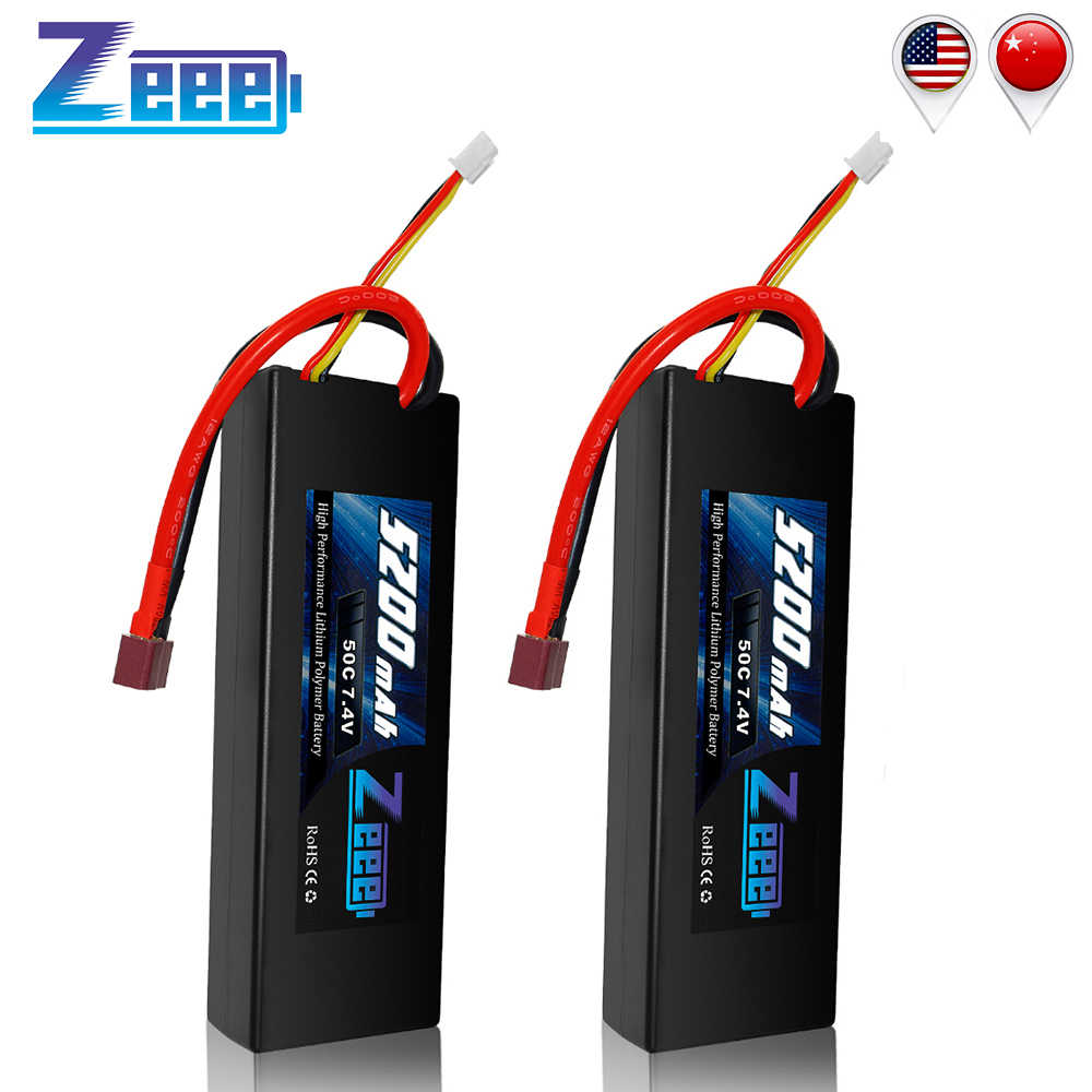 2units Zeee 5200mAh RC Lipo Batteries for RC Car Battery 7.4V Lipo 2s 50C with Deans Plug For RC Car Truck Helicopter Traxxas