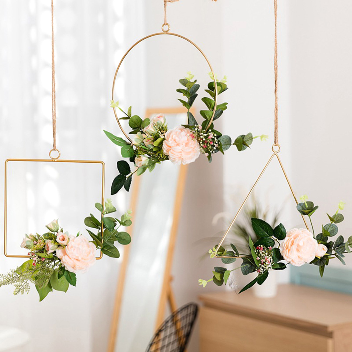 Geometric Metal Wire Round Triangle Square Hoop Frame For DIY Artificial Flower Arrangement Wreath Wall Hanging Backdrop Decors