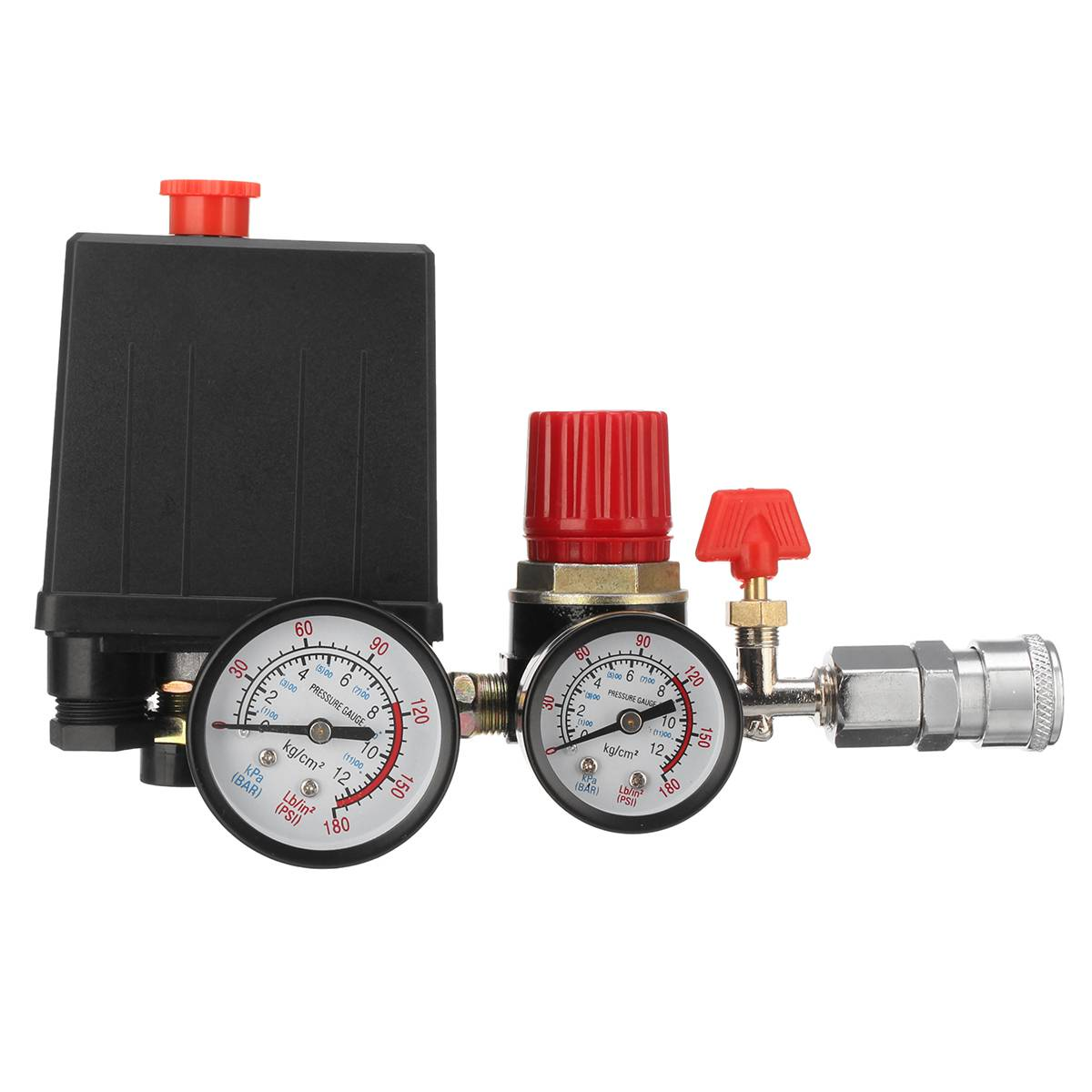 240V Air Compressor Pressure Valve Switch Control Manifold Relief AC Regulator Gauge 95-125 PSI With 2 Quick Connectors