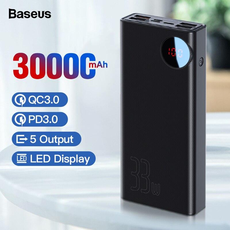 Baseus 30000 mAh batterie externe USB type C PD rapide Charge rapide 3.0 Powerbank pour Xiaomi 30000 mAh Portable chargeur de batterie externe