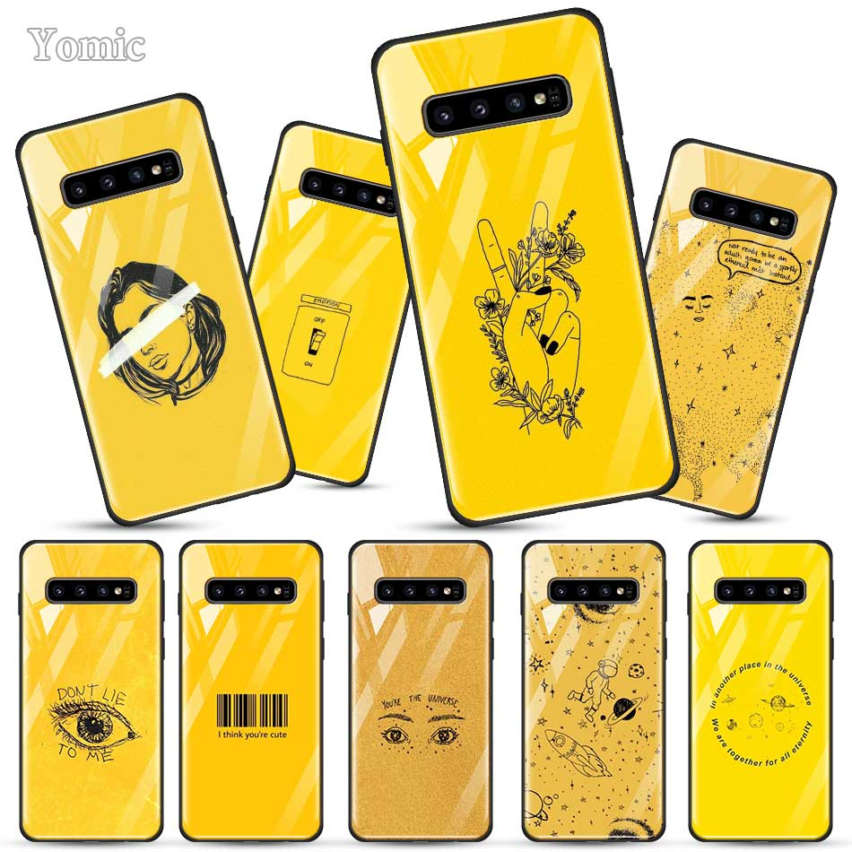 Yellow Aesthetic Art Case for <font><b>Samsung</b></font> Galaxy S20 S10 Lite <font><b>S10e</b></font> S9 S8 Note 10 Plus 5G A50 A70 Tempered Glass Soft Edge Cover <font><b>Capa</b></font> image