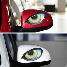 Car Stickers 2Pcs 3D Stereo Reflective Cat Eyes Sticker Creative Rearview Mirror Decal Universal