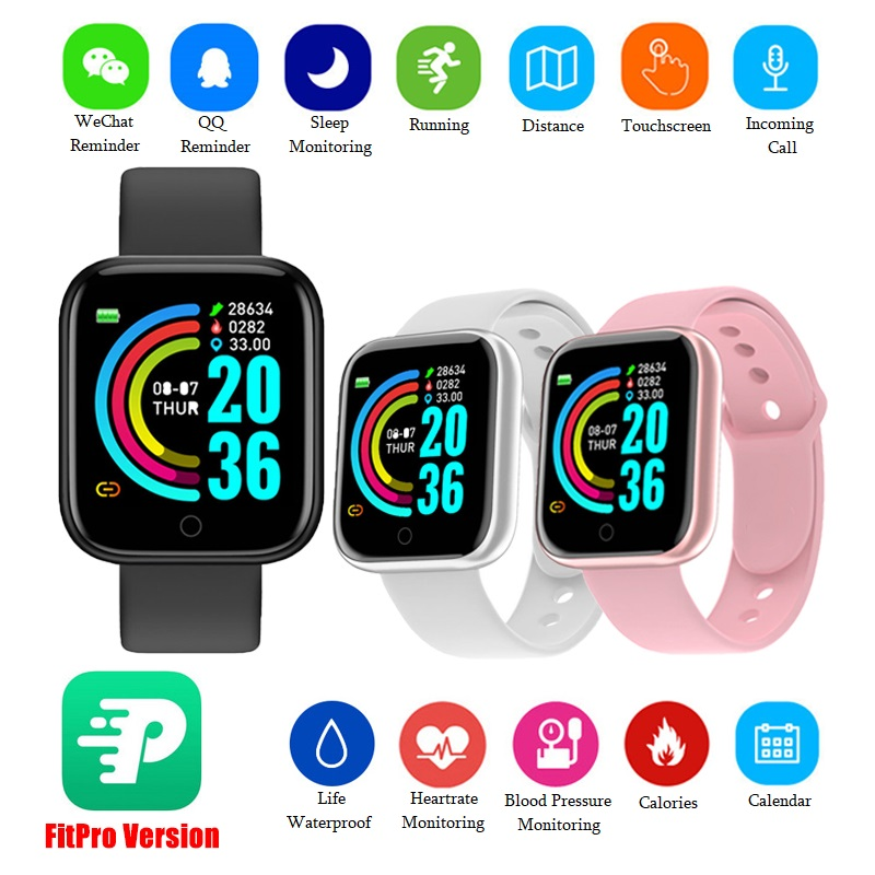 D20 Pro Smart Watch Bluetooth-Compatible Fitness Tracker Y68 Heart Rate Monitor Blood Pressure Smart Wristband For Android IOS