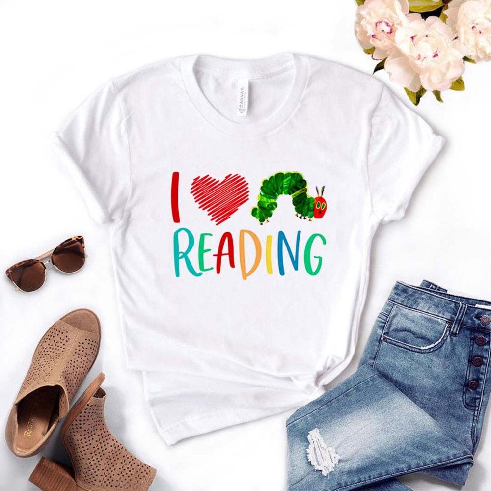 I Love Reading Print Women Tshirt Cotton Casual Funny T Shirt Gift For Lady Yong Girl Top Tee Drop Ship PM-31