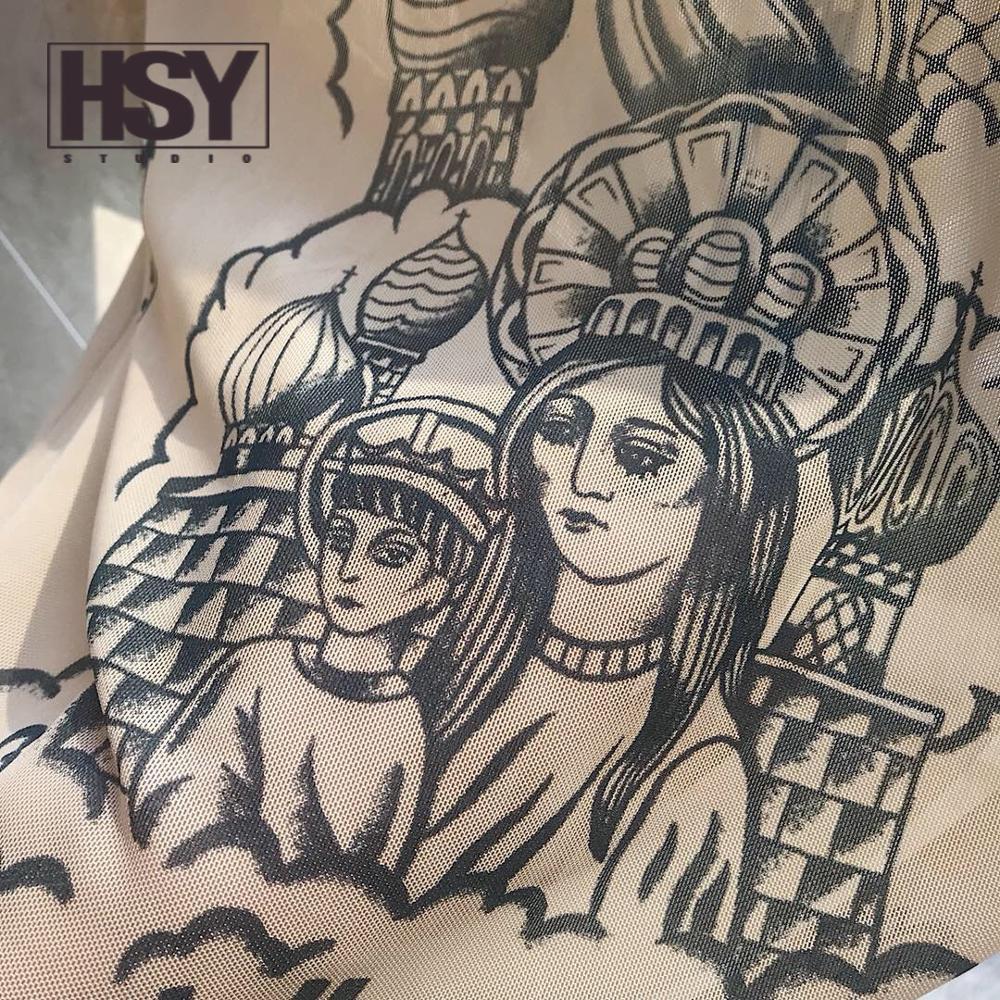 T shirt hsy19 2019 otoño nueva moda mujer Basal superior diosa tatuaje estampado manga larga cuello alto apretado Color desnudo malla hilo camiseta - 4