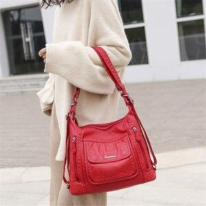 Image 2 - Sıcak deri lüks çanta kadın çanta tasarımcısı çok fonksiyonlu omuz çantaları kadınlar için 2020 seyahat sırt çantası Mochila Feminina Sac