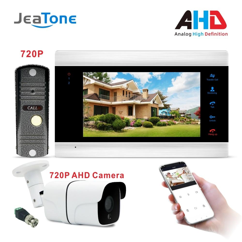 JeaTone nuevo WiFi inteligente JeaTone Video de la puerta del sistema de intercomunicación teléfono timbre de 720P AHD llamada Panel + 7 pulgadas HD Monitor + 720P AHD Cámara