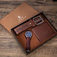 Часы наручные мужские кварцевые с ремешком и бумажником, роскошные деловые, подарок на день отца
