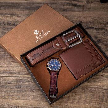 Men Watch Gifts Set For High Quality Belt Wallet Fashion Quartz Wristwatch Luxury Business Watches For Men Father's Day Gifts