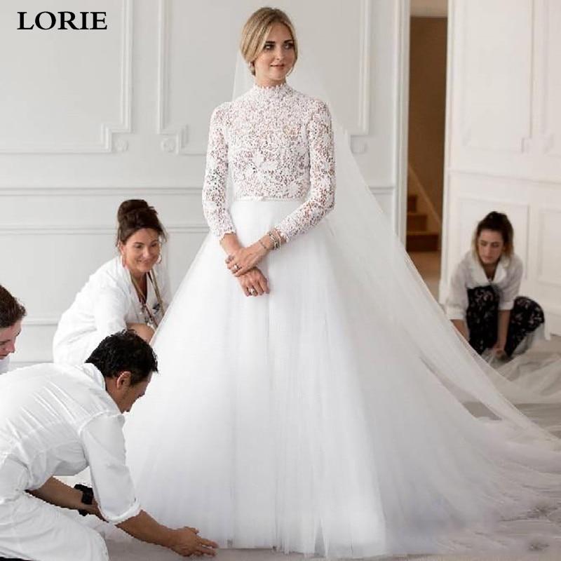 LORIE Muslim Wedding Dresses 2019 Long Sleeve High Princess Lace Bride Dresses Side Split Boho Vestidos De Novia