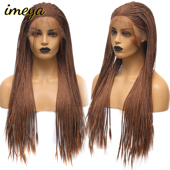 Imeya Braided Box Braids Wig Heat Resistant Fiber 24 Inch With Baby Hair Braided Synthetic Lace Front Wigs For Women