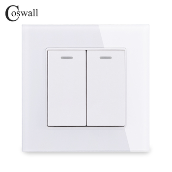 COSWALL 2 Gang 1 Way Crystal Tempered Glass Panel Light Switch On / Off Rocker Wall Interruptor 16A Black White Grey Gold - discount item  24% OFF Electrical Equipment & Supplies