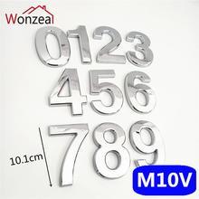 10 см серебристый цвет ABS пластиковая табличка дом номер двери отель Адрес стикер с цифрами табличка знак дверная пластина 0123456789