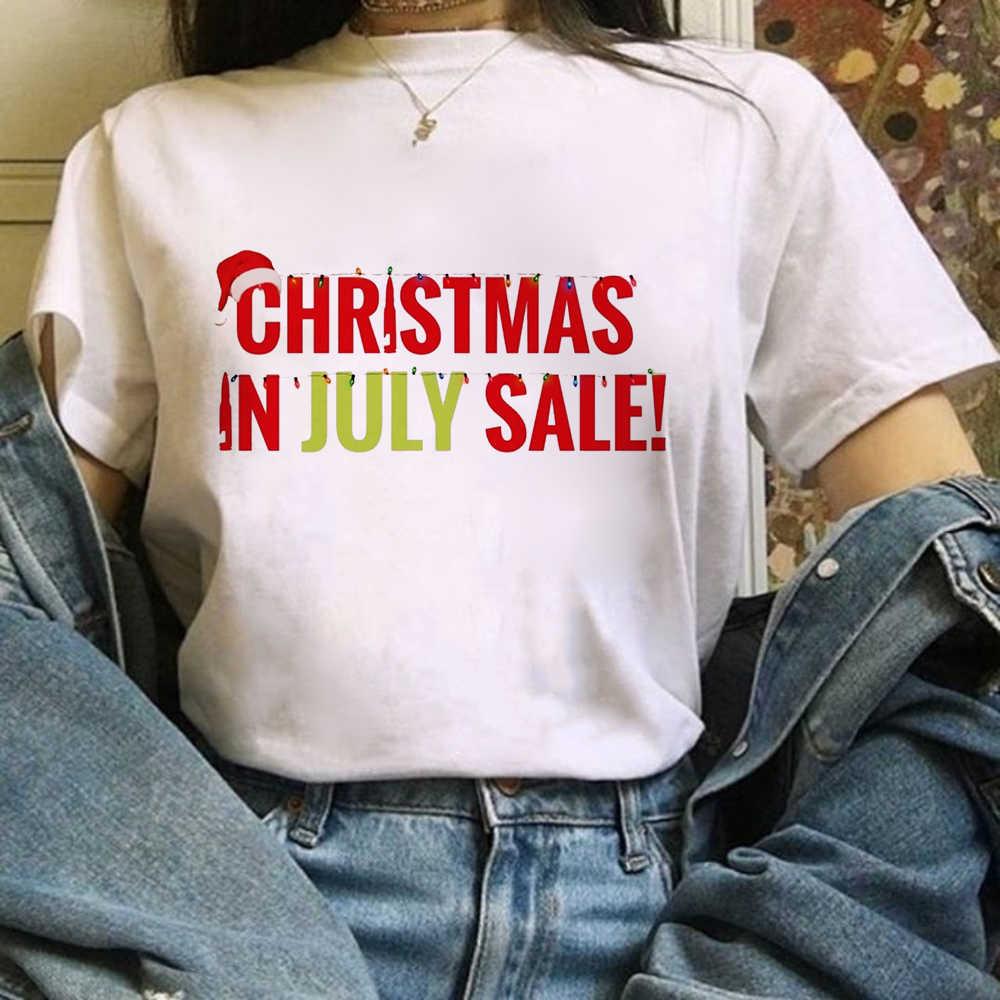 Selamat Natal T Shirt Wanita Fashion Grafis Lucu TEE Kawaii Tshirt Fashion Hipster Pesta Natal Gaya Tumblr Atasan