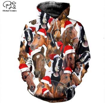 цена на PLstar Cosmos deer Santa Claus Merry Christmas 3D Printed Hoodie/Sweatshirt/Jacket/Mens Womens HIP HOP horse style-2