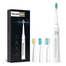 Fairywill brosse à dents électrique Rechargeable minuterie intelligente 5 Modes USB étanche 8 têtes de brosse de remplacement de brosse avec étui de voyage