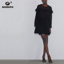 ROHOPO Top Peplum Ruffles Long Sleeve Polk Dot Tulle Black Ruffled Dress Tunic Vintage Ladies Mini Vestido #1433 ruffled long sleeve top in black