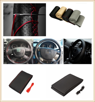 Car DIY Braided Hand Sewing Steering Wheel Cover S M L Code Auto Parts for BMW all series 1 2 3 4 5 6 7 X E F-series E46 E90 image