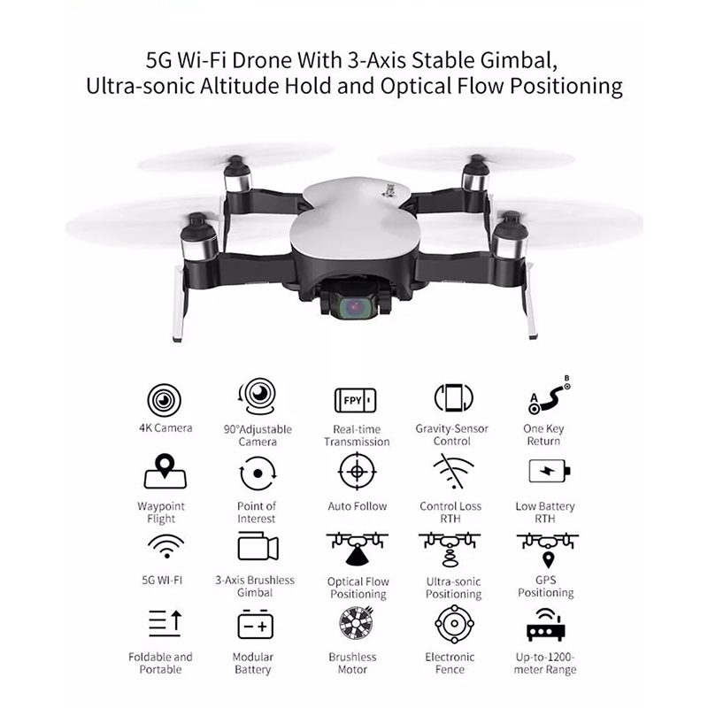 Top SaleEachine GPS Quadcopter Rc Drone Flight-Time Camera Stable-Gimbal 3-Axis FPV with 4K HD