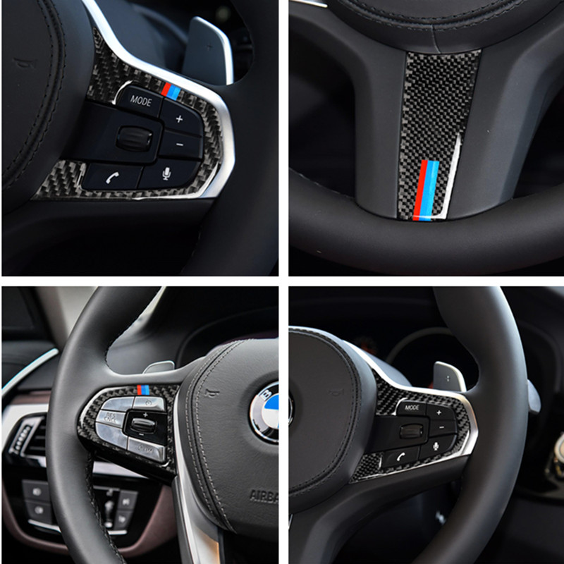 Auto Accessories Carbon Fiber Car Steering Wheel Buttons Emblem Stickers For BMW 5 Series G30 G38 X3 G01 G08 Automobile Styling