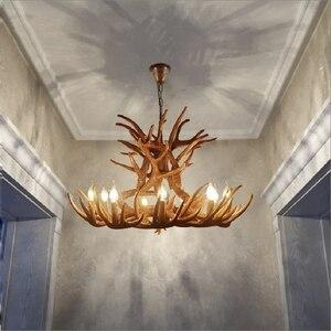 Nordic LED Pendant Lights Living Room Hanglamp Restaurant Industrial Buck Deer Horn Antler Bedroom Dining Room Kitchen Fixtures