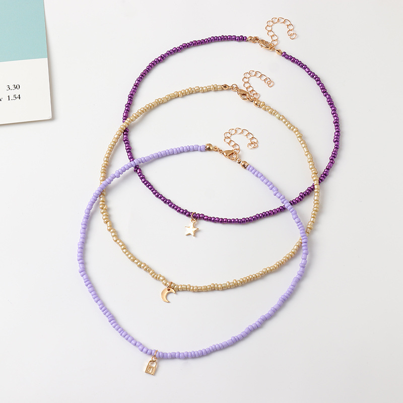 Fashion Boho Beads Choker Necklaces Womens Bohemian Neck Chain Candy Color Alloy Star Moon Pendant Necklace Jewelry For Girls