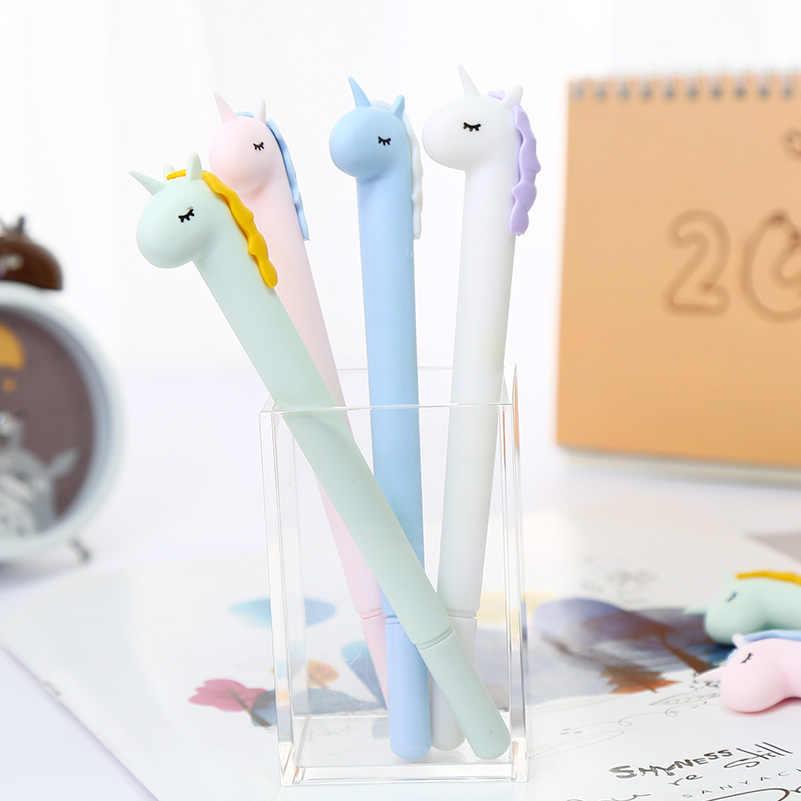 Coreano lindo bolígrafo de gel de flamenco unicornio ballena gato pata Animal brillo Color Kawaii escuela papelería Kawai Material estacionario