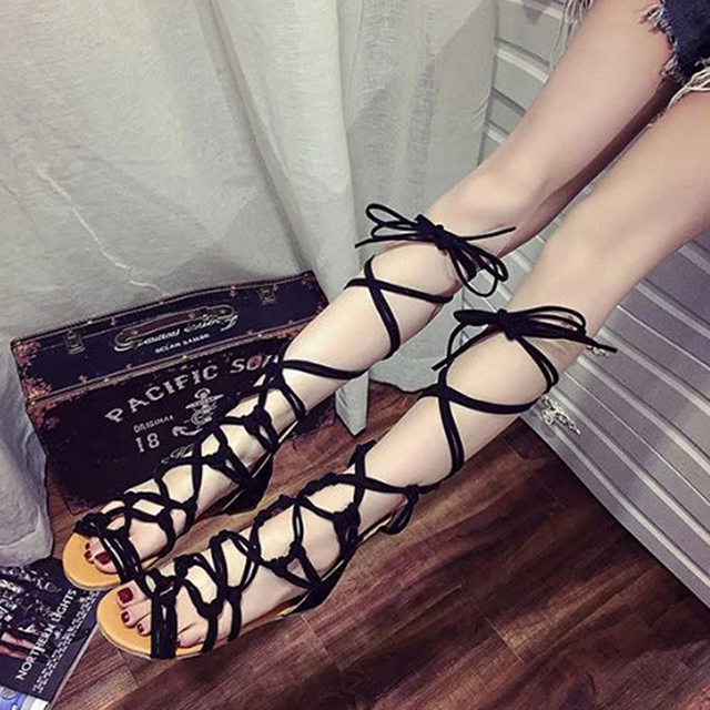 Fashion Knee Length Sexy Cross-Tie Sandal Women Gladiator Sandals Women Cross Strap Tall Sandals Women Boot Sandals Shoes