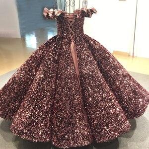 Image 2 - فستان سهرة فاخر وردي مكشوف الأكتاف من Dubai Bean 2020 مزين بالترتر المتألق بطول الكاحل فستان رسمي Serene Hill HA2093